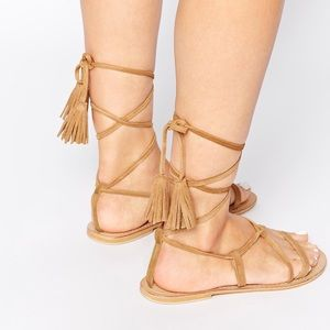 Gladiator faux suede wrap tie sandals 👡